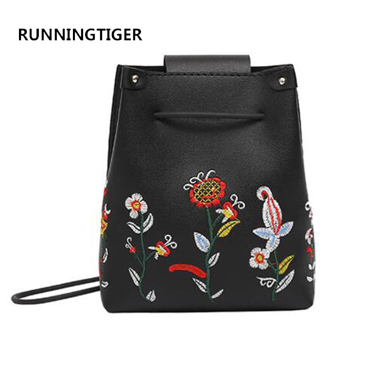 RUNNINGTIGER Women floral Embroidery Shoulder Bags Ladies Bucket Women's Handbags Pu Leather Crossbody Bags for Women xiyuan brand ladies beautiful and high grade imports pu leather national floral embroidery shoulder crossbody bags for women