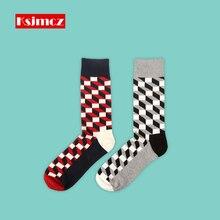 1 Pair KSJMCZ British Style Business Plaid Men's Socks Pure Cotton Long Socks Happy Sock
