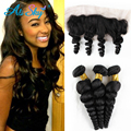 4 Bundles Malaysian Virgin hair with lace frontal Malaysian Loose Wave Frontal and Bundles Bob Virgin 100 Human Hair Extensions