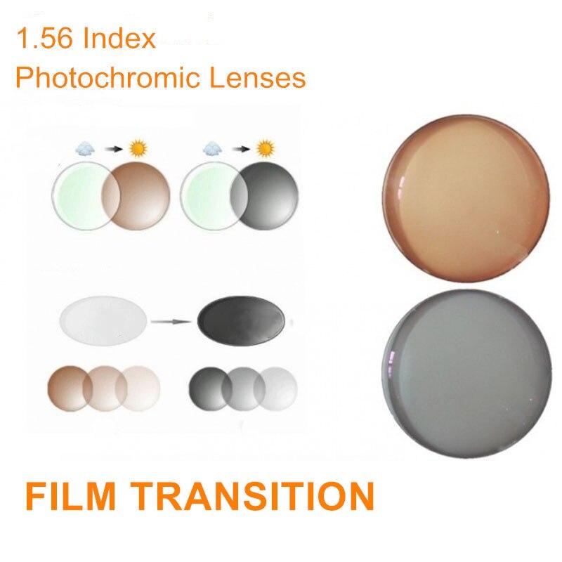 1.56 Index Ordonnance Verres Photochromiques Transition Gris Brun Lentilles pour Myopie/Hypermétropie Anti UV Anti Éblouissement Lentille des Lunettes De Soleil