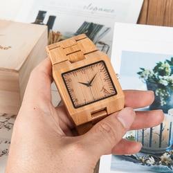 Drewno mężczyzna zegarka mężczyzna BOBO ptak drewniane zegarki kwarcowe relogio masculino bambusa w szkatułce erkek kol saati w Zegarki kwarcowe od Zegarki na