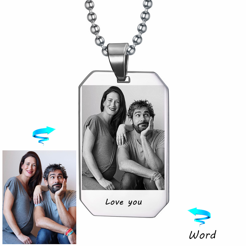 Custom Photo & Nam Necklace Picture Personalized Custom Laser Engraved Gift Veteran Military Husband Boyfriend Can