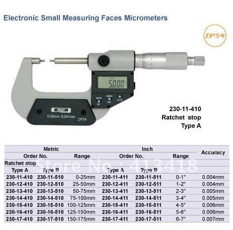 Outside micrometer .Small Measuring Faces Micrometers  0-1inch.