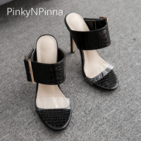 2019 new summer slip on young female sandals toe strap high heels buckle crocodile print concise holiday casual mule shoes woman