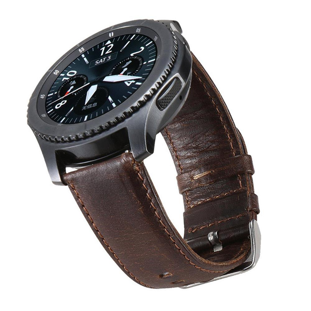 Strap For <font><b>Samsung</b></font> galaxy watch <font><b>46mm</b></font> 22mm watch band <font><b>Leather</b></font> bracelet Metal button wrist Gear S3 Frontier huawei watch gt strap image