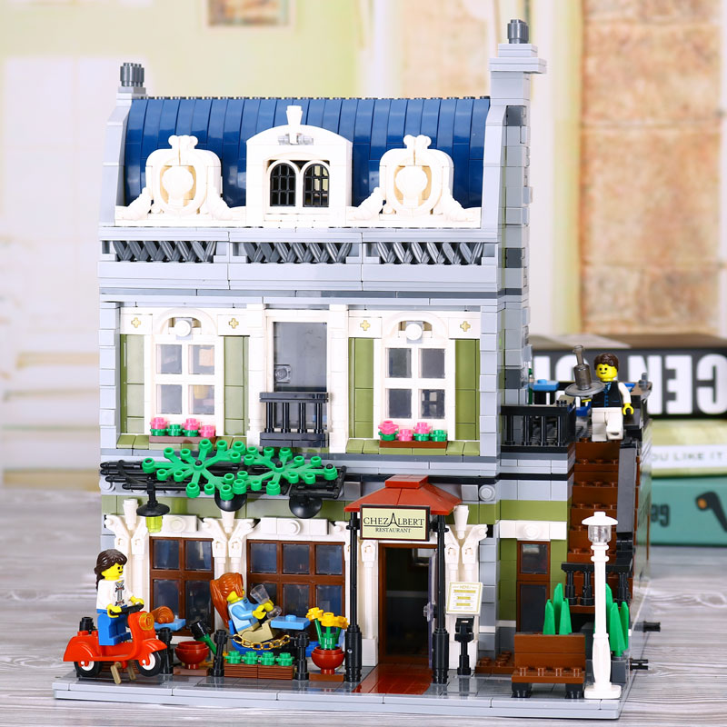 New Lepin 15010 Expert City Street Parisian Restaurant Model Building Kits Blocks Children Toys Compatible legoed With 10243 lepin 02012 city deepwater exploration vessel 60095 building blocks policeman toys children compatible with lego gift kid sets