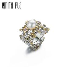 Женское Винтажное кольцо из серебра 100% пробы, с жемчугом