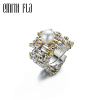 Genuine 100% 925 Sterling Silver Baroque Style Pearl Rings Female Vintage Open Rings Fashion Jewelry For Women Resizable Size