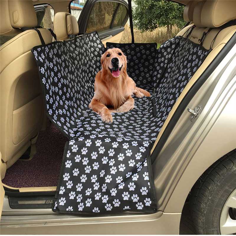 Collapsible Waterproof Car Pet Seat Cover Footprint Pattern Oxford Fabric Pet Protector Rear Back Seat Cover Cars Mat