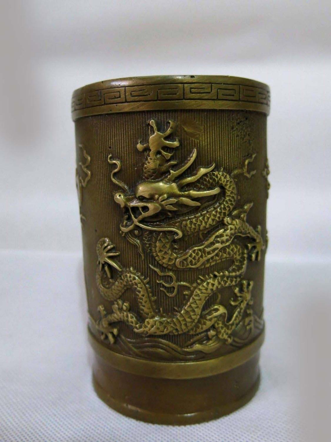 DS China copper brass carved finely two dragons play bead brush pot StatueDS China copper brass carved finely two dragons play bead brush pot Statue