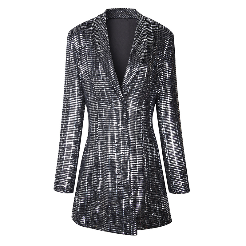 Autumn 2019 New Korean Version Slim Suit Shiny Silver Coat For Women Black Jackets And Coats Suit Women Single Breasted Notched