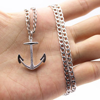 AAA CZ Micro Paved Miansai Anchor Pendants With 24 Inch Miami Cuban Chains Necklkace