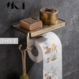 Image 4 - Antique Esculpida Acessórios Do Banheiro Suporte Do Telefone Móvel Papel Com Prateleira Do Banheiro de Toalha Cremalheira Higiênico Suporte de Papel Caixas de Tecido