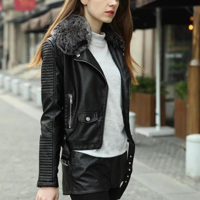 women winter Thick leather jacket with fur collar pink black bomber  motorcycle Leather jackets women leather 401d394ce