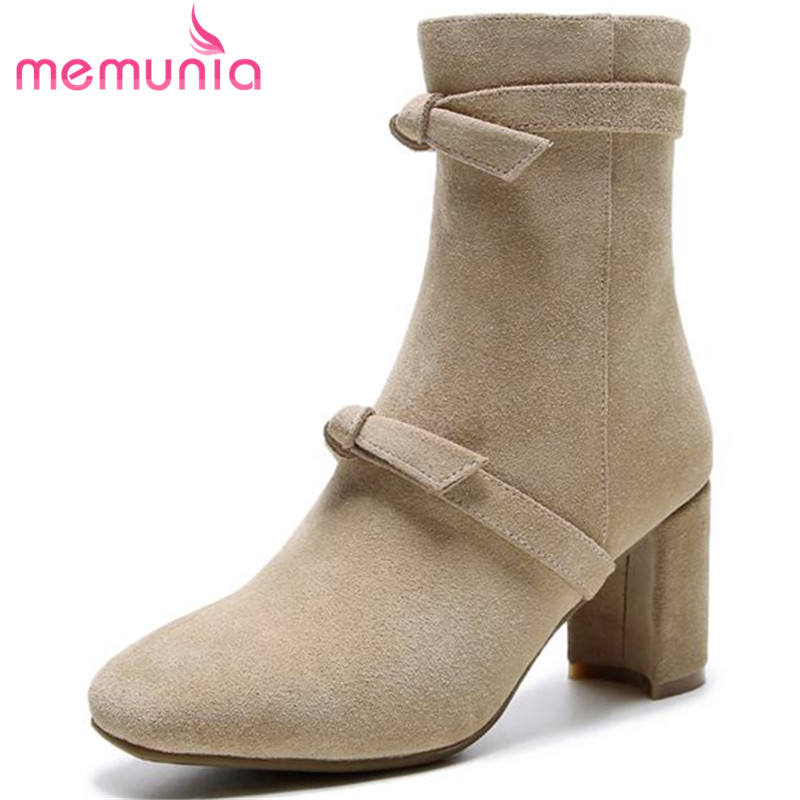 MEMUNIA new fashion square toe ankle boots women fashion autumn winter suede leather boots sexy high heels shoes womanMEMUNIA new fashion square toe ankle boots women fashion autumn winter suede leather boots sexy high heels shoes woman