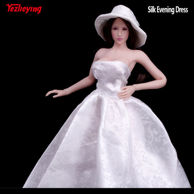 A041 1/6 Scale White Silk Evening Dress Girl Wedding Dress with hat ...