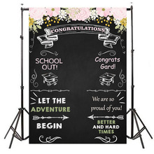 Graduation Party Backdrop Congrats Grad Photography Background Vinyl Step and Repeat Banner Backdrops