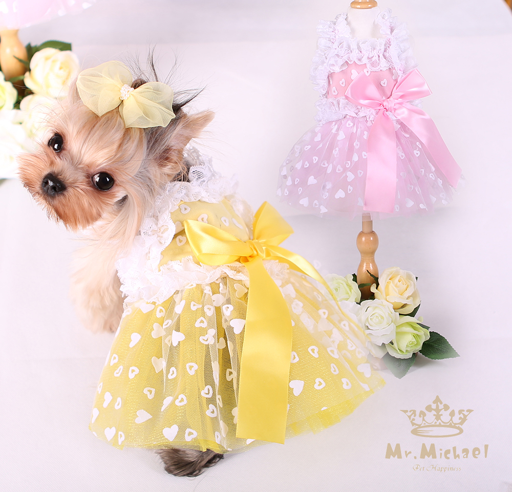 Small dog clothes spring and summer pet dress cat skiet for Wedding dress for dog