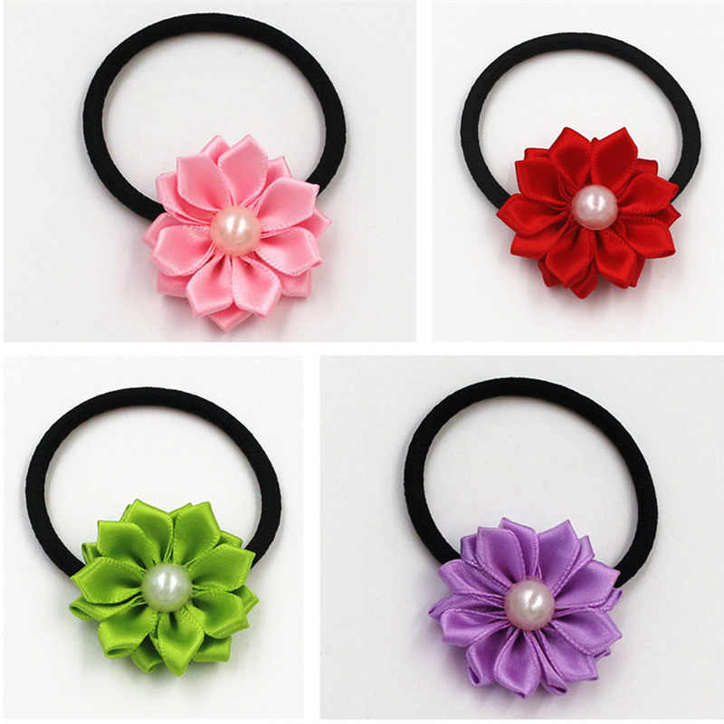 1pcs Hot Sale 2018 New Cute Pearl flower Elastics Hair Holders Bands Fashion  Candy Rubber Bands Headwear Girl Hair Accessories