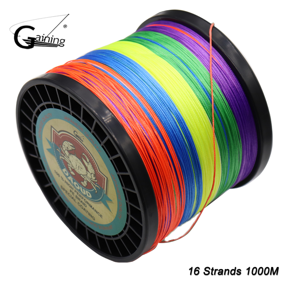 Daoud Braided Fishing Line 16 Strands 1000m Multicolor Super Power Japan Multifilament PE Braid Line 220LB