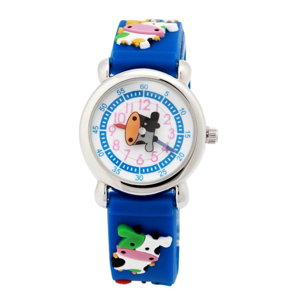 цены  Children Silicone watch cow Waterproof Kid Wristwatches Brand Quartz Wrist Watch Baby For Girls Boys Fashion Casual Reloj