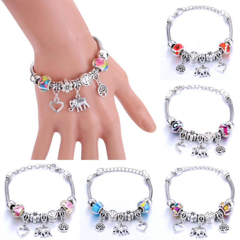 Love Tree of Life Elephantshape Bracelet Jewelry 6 Colors Silver Lobster Buckle Snake Chain Bangles Beaded Bracelet Fit Jewelry