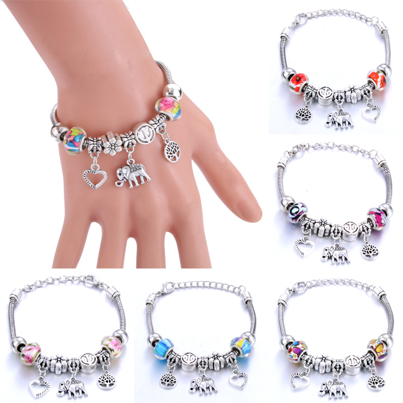 Love Tree of Life Elephantshape Bracelet Jewelry 6 Colors Silver Lobster Buckle Snake Chain Bangles Beaded Bracelet Fit Jewelry in Chain Link Bracelets from Jewelry Accessories