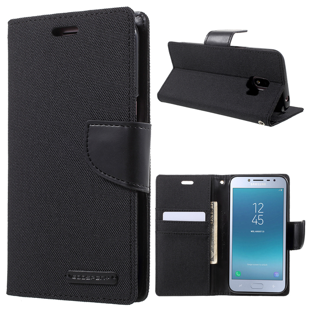 huge selection of 6faa7 5c487 US $9.99 |MERCURY GOOSPERY for Samsung Galaxy J2 Pro 2018 Case Canvas Diary  Leather Wallet Flip Cover for Samsung J2 Pro 2018 Cases Coque-in Flip ...