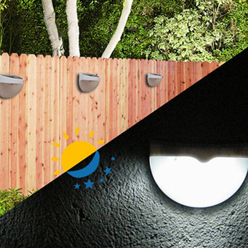 Solar Lights To Hang On Fence: 1pcs Outdoor Fence Barrier Solar 6 Leds Lights For Deck