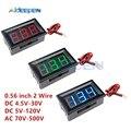 0,56 zoll 2 Draht Mini Digital Voltmeter AC 70-500V LED Digital Voltage Meter DC 4,5 V- 30V DC 5 V-120 V Volt Instrument Werkzeug Für Auto