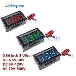 0.56 inch 2 Wire Mini Digital Voltmeter AC 70-500V LED Digital Voltage Meter DC 4.5V-30V DC 5V-120V Volt Instrument Tool For Car