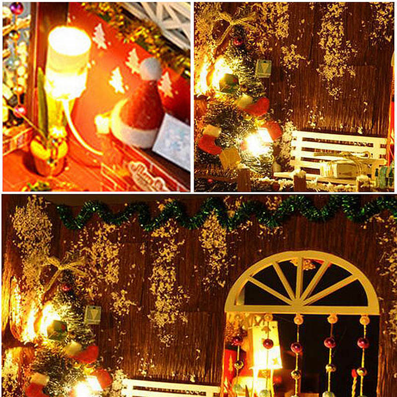 miniature christmas carnival night dollhouse diy wooden dolls house with led light furniture kits diy gift toys for children in doll houses from toys - Dollhouse Christmas Lights