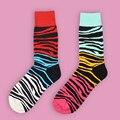 Mulheres homens Unisex feliz estranho meias de alta meias colorido padrão engraçado Elite da listra meias