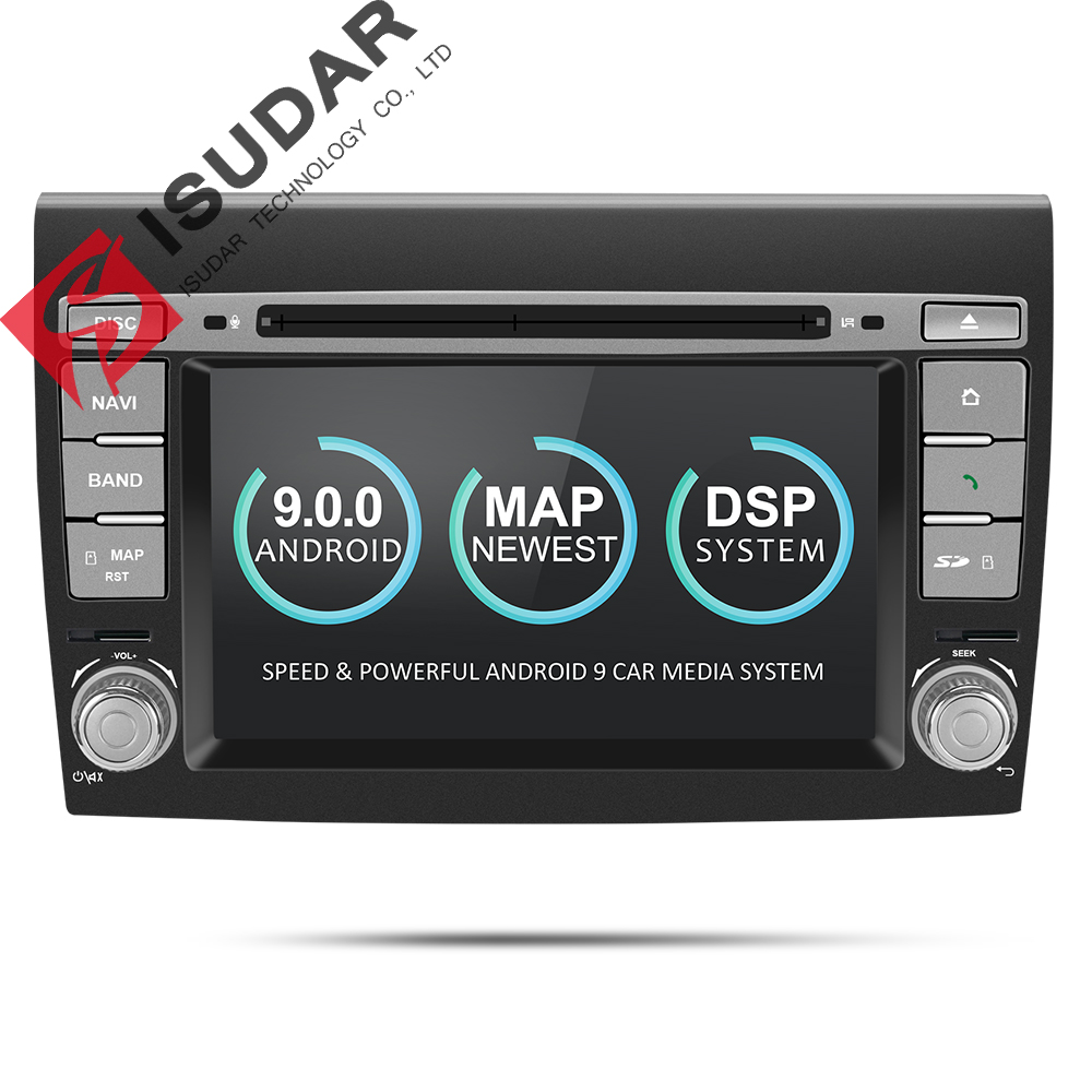 Isudar 2 Din Android 9 Car Multimedia player For Fiat/Bravo 2007 2008 2009 2010 2011 2012 DVD Automotivo GPS Radio 2 GB RAM DSP
