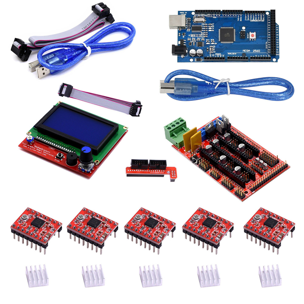 Professional Printer Parts Set LCD Controller DIY Expansion Board Stepper Motor Driver RAMPS 1.4 Kit With Heatsink For Arduino#2Professional Printer Parts Set LCD Controller DIY Expansion Board Stepper Motor Driver RAMPS 1.4 Kit With Heatsink For Arduino#2