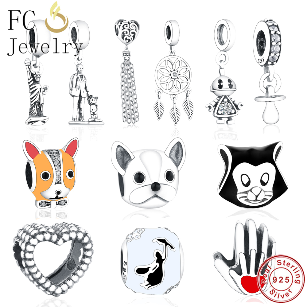 Beads & Jewelry Making Mybeboa Summer Style 925 Sterling Silver Trendy French Bulldog Pendant Charms Bead Fit Original Pandora Bracelet Charms Jewelry Fancy Colours