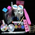 Professional Full Set UV Gel Kit Nail Art Set  + 6 Powders Glues FILE BLOCKS Primer Tips tools A002-5