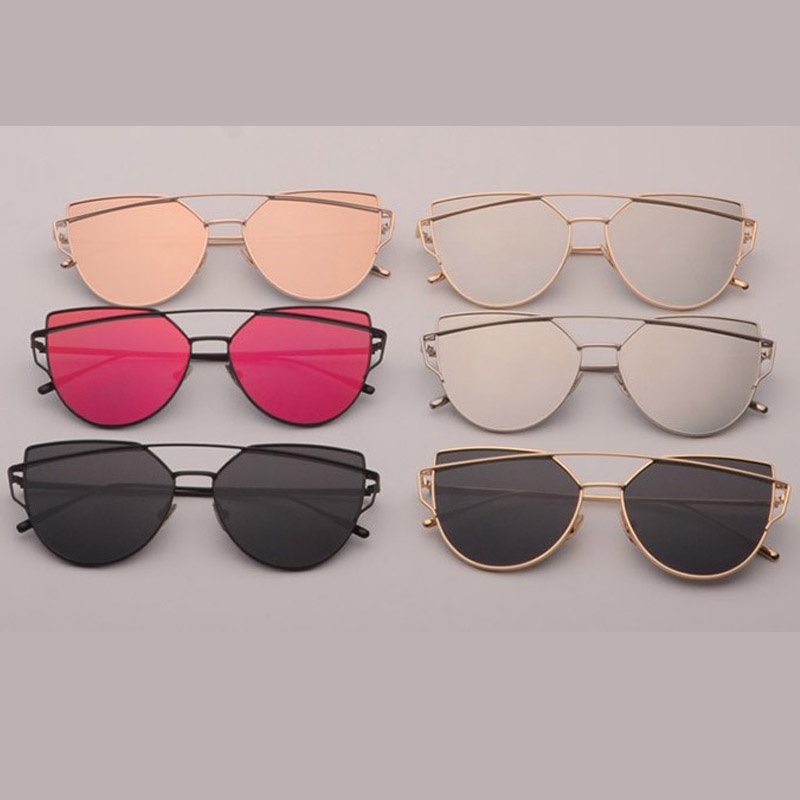 5a41e6b3e9dea1 Samjune Katzenaugen sonnenbrille Frauen Vintage Mode Metallrahmen Spiegel  Sonnenbrille Flache sonnenbrille Damen Sonnenbrille UV400 in Samjune ...