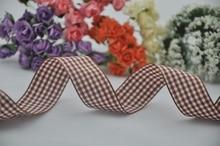 Free shipping,1″(25mm) width,styles polyester scottish tartan ribbon,coffee gingham ribbon,bow decorative