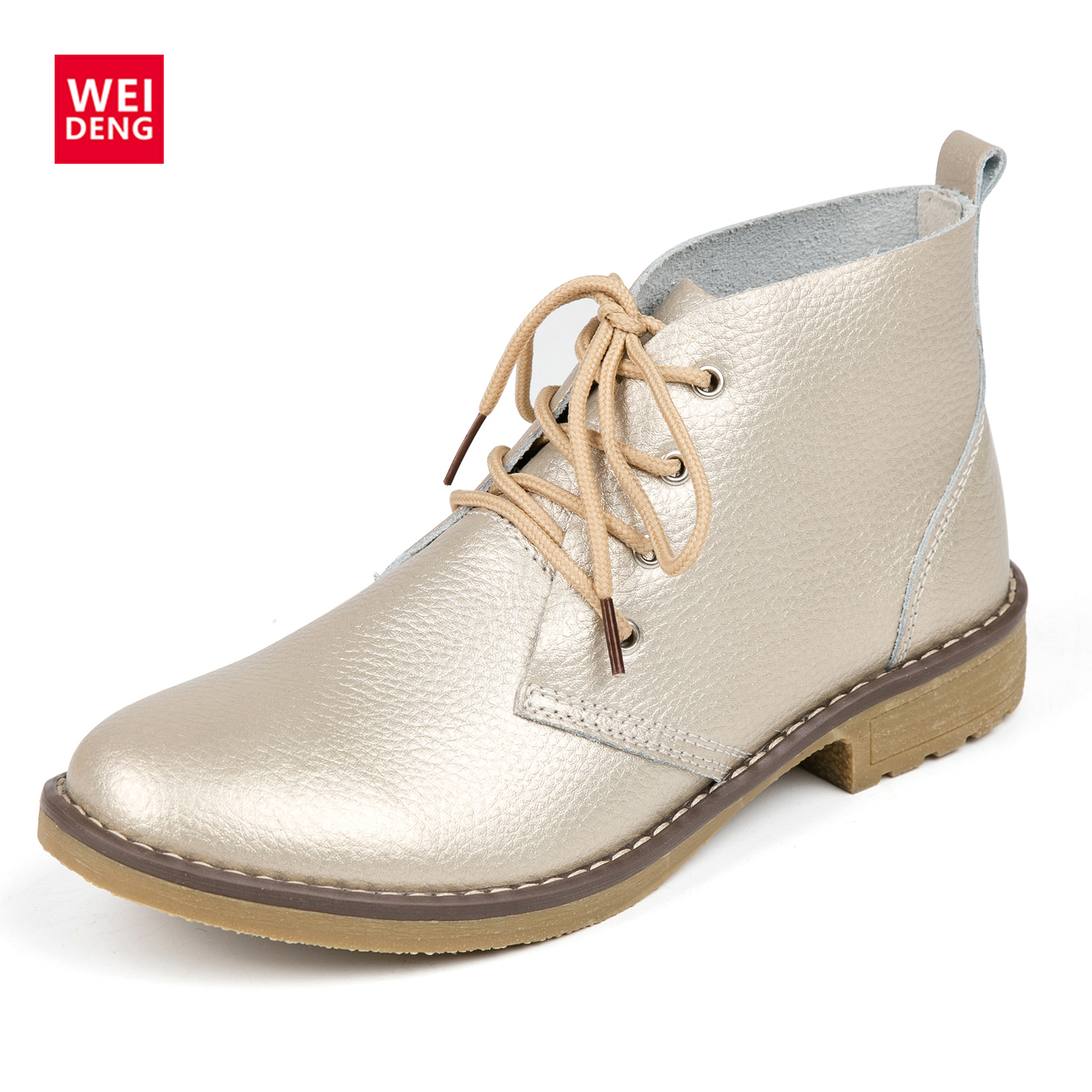 WeiDeng Leather Boots Women Classic Genuine Matin Fashion Flats Winter Lace Up High Top Casual Waterproof  Ankle Shoes Outdoor