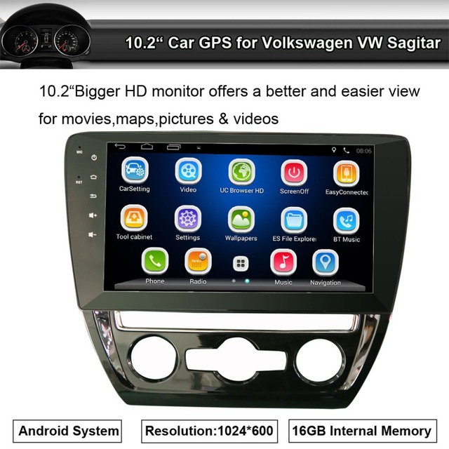 Car GPS Navigation for Volkswagen VW Sagitar NO DVD Player with Radio FM AM Bluetooth BT music support Wifi Mirror Link