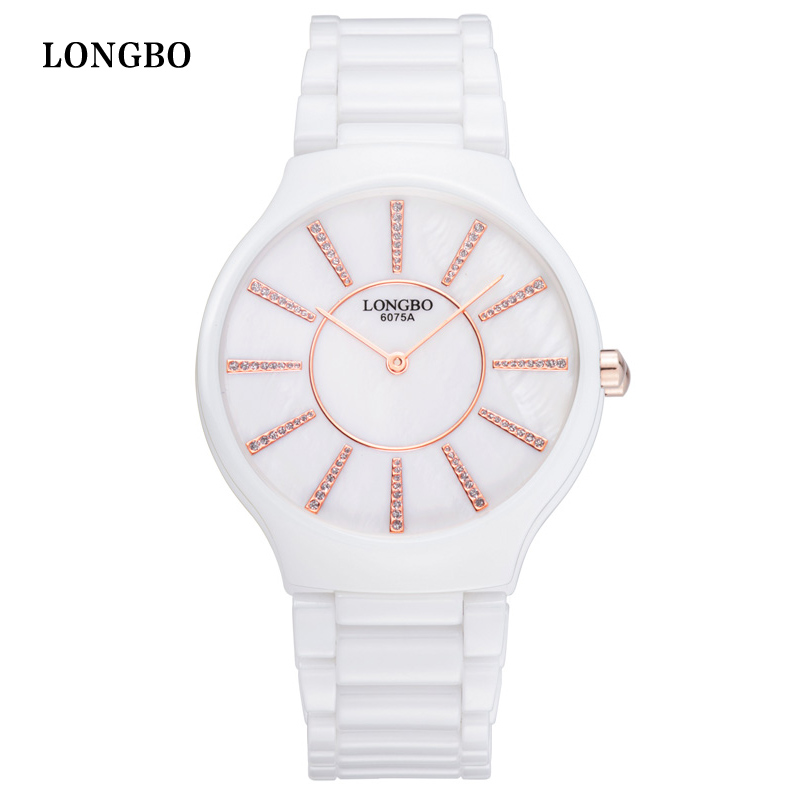 LONGBO Luxury White Ceramic Water Resistant Classic Easy Read Sports Women Wrist Watch Diamond Women s