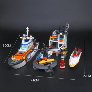 Lepin 02081 BELA 10755 Coast Guard Headquarters Building Blocks Compatible with Lego 60167 City Helicopter Ship Car Shark Toy 1