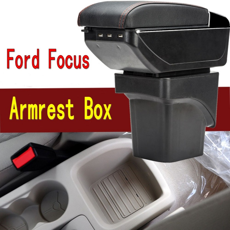 For Ford Focus 2 armrest box central Store content Storage box Ford focus armrest box with cup holder ashtray USB interface for chery tiggo 2 3x 2016 2017 2018 armrest box central store content box with cup holder ashtray decoration with usb interface