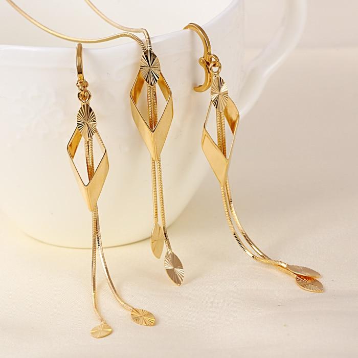 סטי תכשיטי תלבושות חרוזים אפריקאים נשים Bijoux Femme עגילי תליון זהב Bisuteria Brinco תכשיטים אתיופים S0143