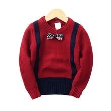Auro Mesa Kids Boys Long-Sleeve Gentleman Knit Sweater Bowtie Pullover V-Neck 100% Cotton Wine