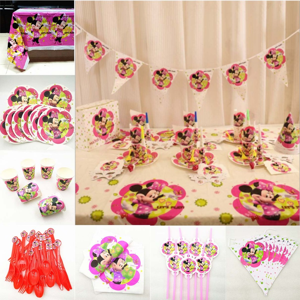 82pc/set Minnie Mouse Kids Birthday Party Supplies Tablecloth Plate Cup Napkin Straw Flag Knife Fork Spoon Tableware decoration82pc/set Minnie Mouse Kids Birthday Party Supplies Tablecloth Plate Cup Napkin Straw Flag Knife Fork Spoon Tableware decoration