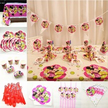 82pc/set Minnie Mouse Kids Birthday Party Supplies Tablecloth Plate Cup Napkin Straw Flag Knife Fork Spoon Tableware decoration