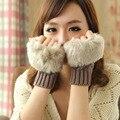 La Moda de invierno de Las Mujeres de Señora Girl Guantes de Imitación de Piel de Conejo Muñeca de la Mano Calentador Del Invierno Sin Dedos