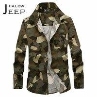 AFS JEEP Falow Khaki/Exército Verde Camuflagem Militar Algodão do Homem Camisa de Manga Completo, Impresso Sports masculina outono soldado das camisas